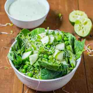 Super Green Salad with Parsley Lime Dressing