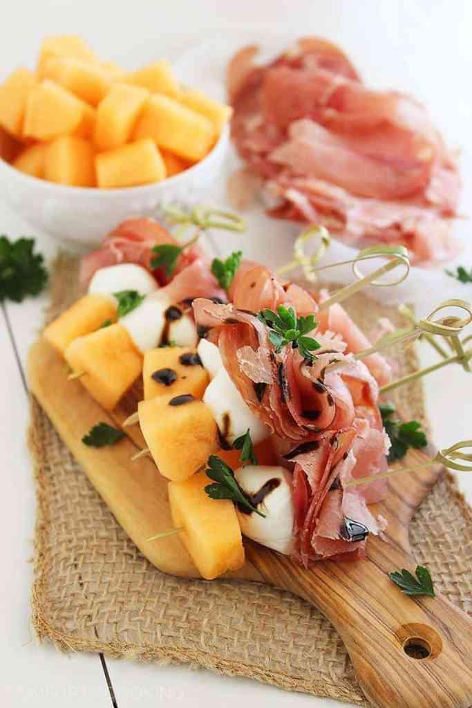 Melon Prosciutto and Mozzarella Skewers
