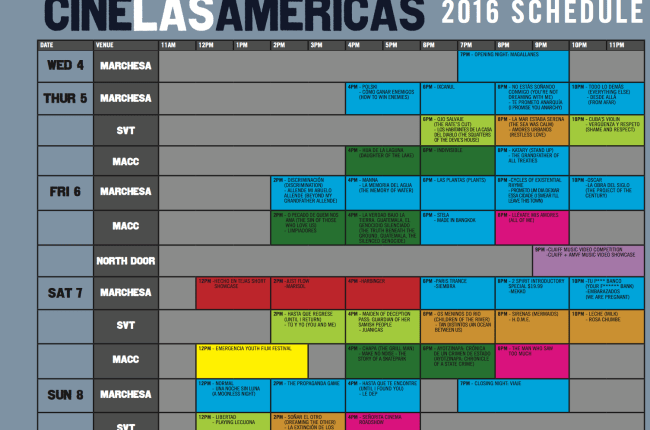 Cine las Americas Screening Schedule 2016