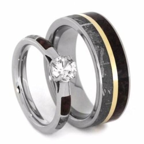 his hers handmade wedding bands dinosaur wedding band White Sapphire Gibeon Meteorite Dinosaur Bone 10k White Gold Ring Men s Dinosaur