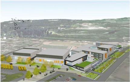Birds eye view of new Mount Si High School schematic design as it will sit on the property. Left: Performing Arts Center, Gym, with main building along Meadowbrook Way. Photo: SVSD