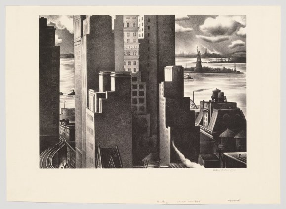 Victoria Hutson Huntley, Lower New York, 1934. Lithograph. Whitney museum of American Art, NY