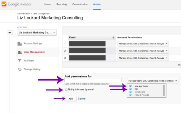 Adding a Second User to Google Analytics Screenshot 2015