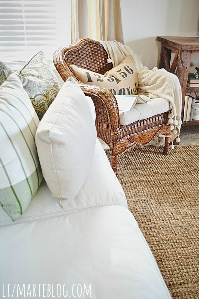 Thrifted wicker chair makeover - lizmarieblog.com