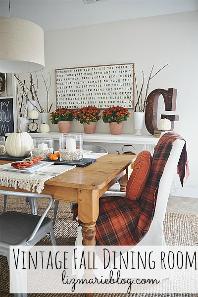 Vintage fall dining room - lizmarieblog.com