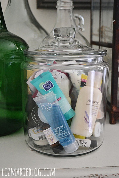 Put samples of shampoo, lotion, conditioner, & other toiletries in a glass container & put in guest bedroom when you have overnight guests so they have the items they need.