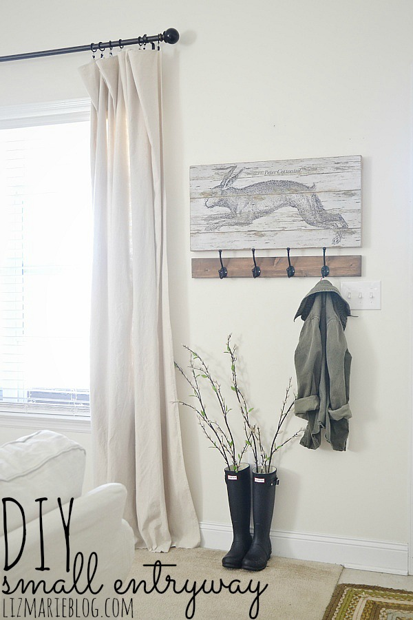 DIY small entryway - lizmarieblog.com