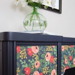 Navy desk with flower papered drawers WD-4