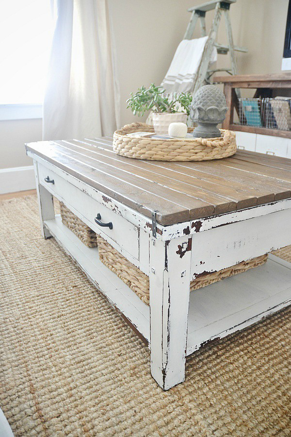 World Market Coffee Table Makeover - lizmarieblog.com