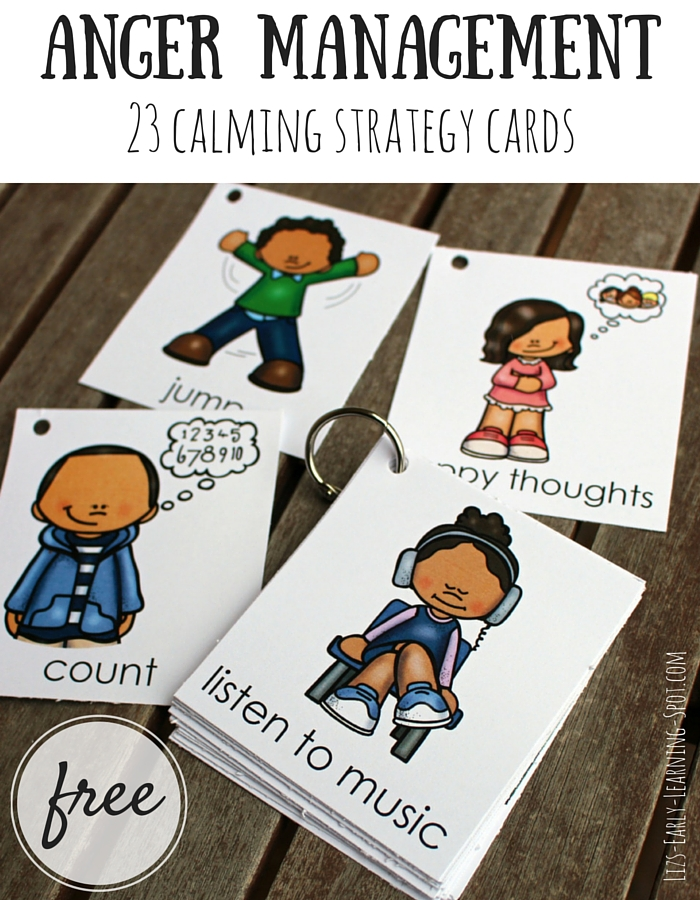 These free cards are great for talking to kids about calming themselves. Let them pick their favorite strategies to try!