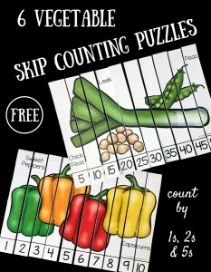 6 Vegetable Skip Counting Puzzles