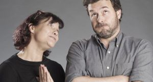 Mature couple woman asking for forgiveness man hesitating
