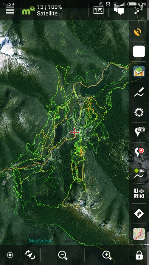 Locus my favorite sports trackerLocus Strava biking heatmap of Canadian Whistler MTB resort in Locus Map