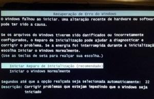 Erro do Windows 7 inicialização
