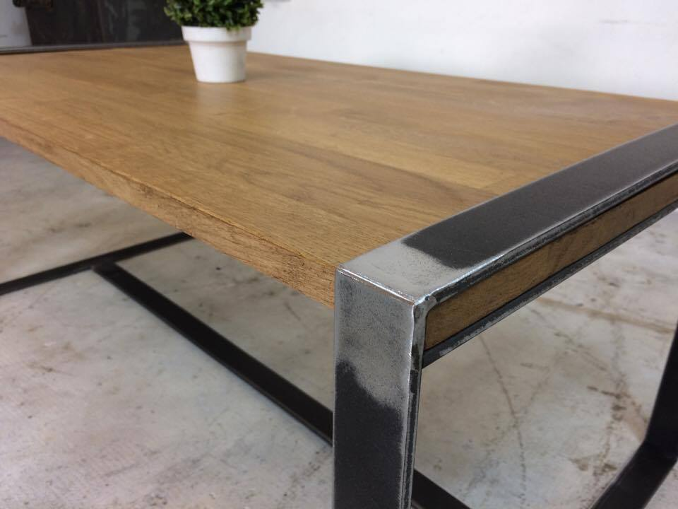 Table basse loft industeel - Table chene acier ...