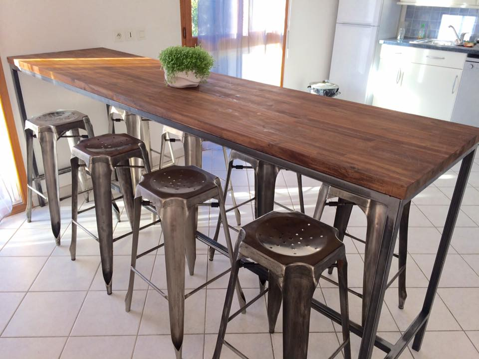 Table haute loft industeel - Table repas style industriel ...