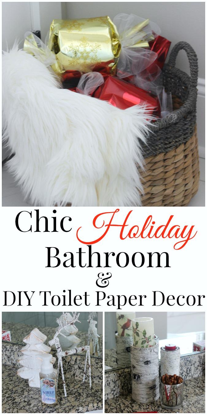 Diy christmas bathroom decor - Chic Holiday Bathroom And Diy Toilet Paper Decor