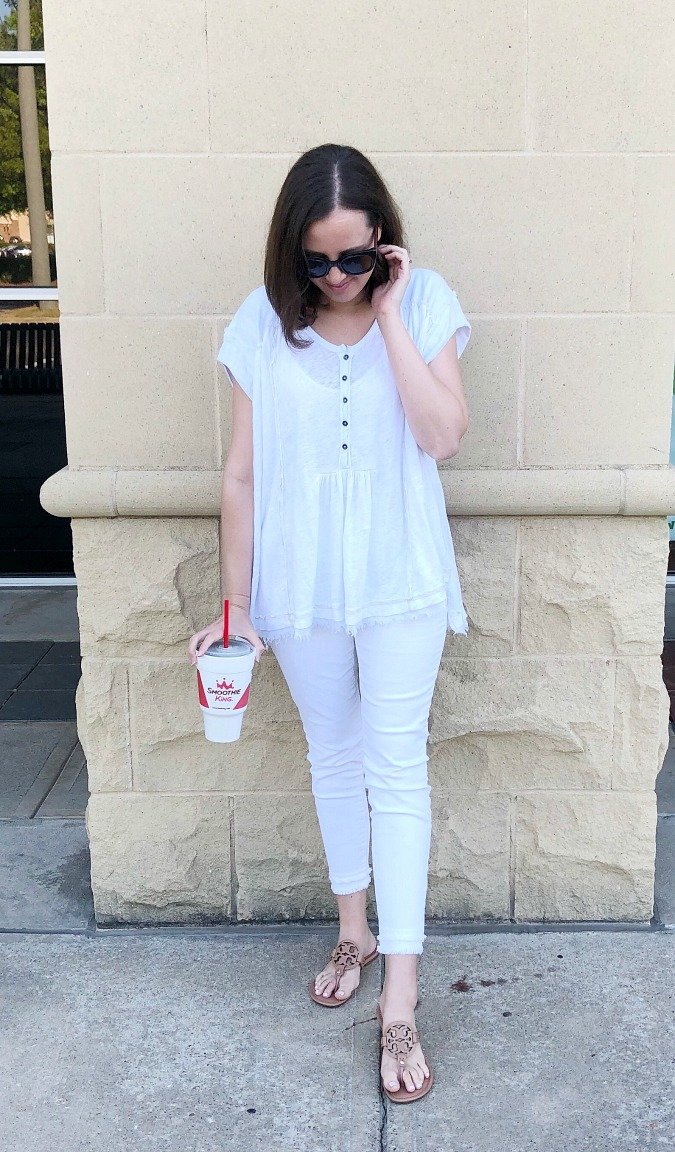 All White Outfit Tory Burch Miller Sandals