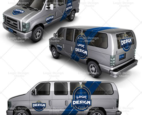 minibus car mock up design views