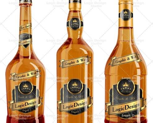 Whisky and Cognac Bottle Mock Up