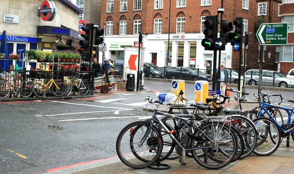Bicycle parking full near tube station