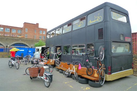 The bicycle library double decker bus