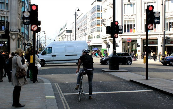 Cyclist at Oxford Circus