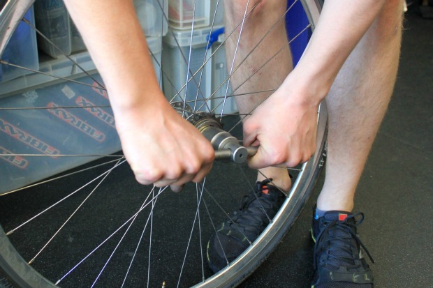Removing freewheel cog using spanner
