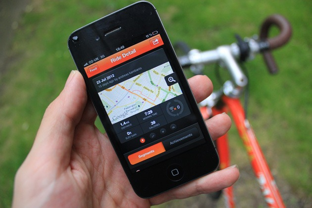 Strava iPhone app for cyclists showing the results of a ride