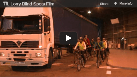 A screengrab from a TFL film about lorry blind spots showing cyclists next to a lorry