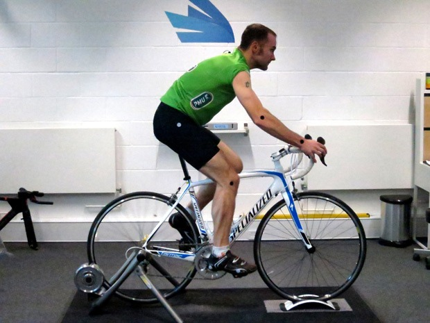 Side view of a cyclist during a bike fitting session