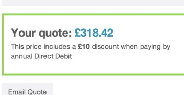£318 insurance quote screenshot