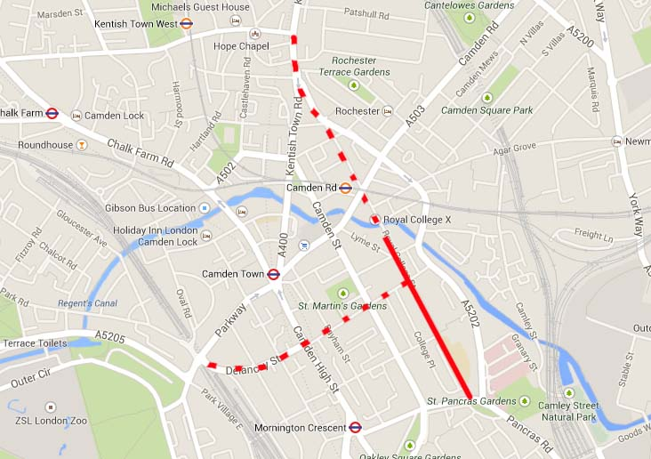 Royal College Street extension plan - original image from Google Maps