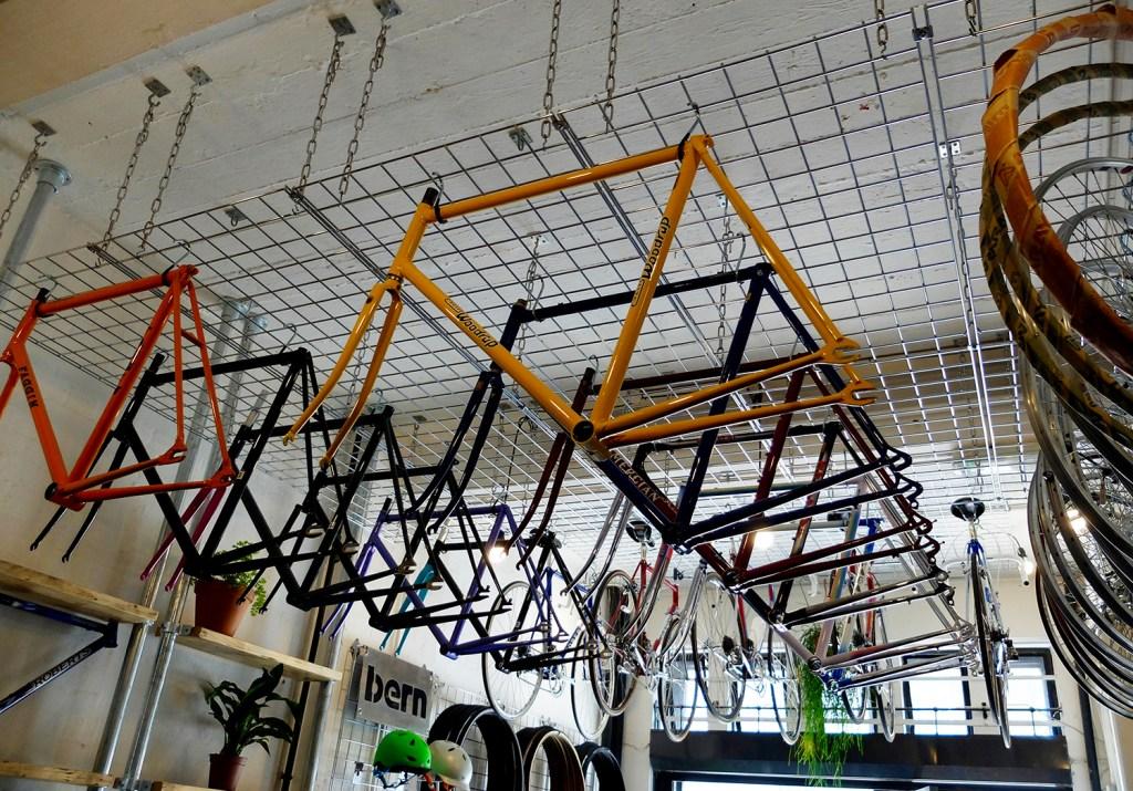 Frames hanging in shop