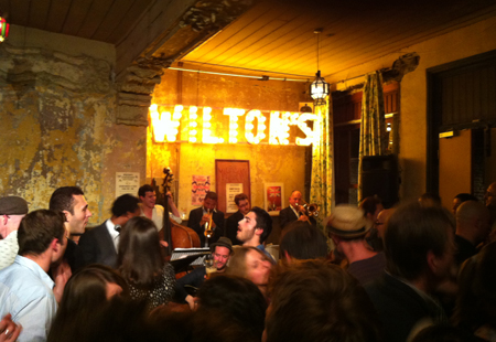 Wiltons Music Hall Mahogany Bar in full swing