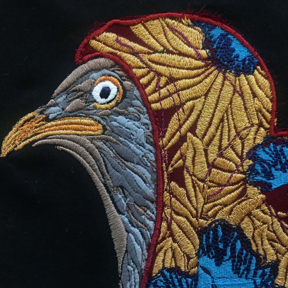 digital embroidery cad edward crutchley bird applique hood cloke