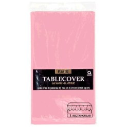 Pink plastic tablecover