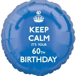 "Keep calm It's your Birthday 60th Birthday 18"" Helium Filled Foil Balloon"