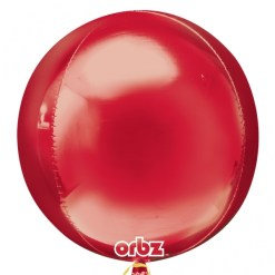 "3 Plain red Orbz 16"" Helium Filled Foil Balloonss"