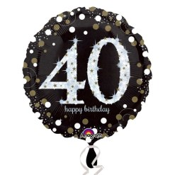 "Sparkling Celebration Black & gold 40th Birthday 18"" Helium Filled Foil Balloon"