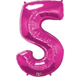 Pink 5 Foil number shape Helium Filled Balloon