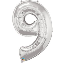 Silver number 9 foil balloon.