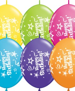 10 Happy Birthday  helium filled linking balloons - Tropical Assortment