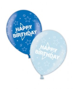 "10 Happy Birthday Rich/Icy Blue 11"" Helium Filled Balloons"