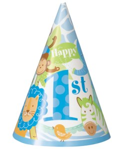 1st Birthday Blue Safari Pack of 8 Hats at London Helium Balloons