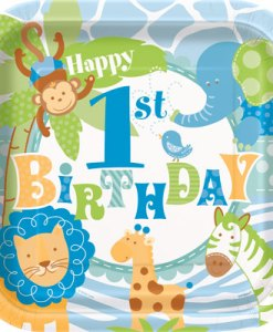 1st Birthday Blue Safari Pack of 8 Plates at London Helium Balloons