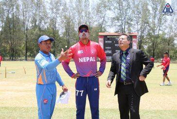नेपाल र मलेशियाबीचको खेल ३० ओभरमा झारियो, उपकप्तान मल्ल ११ रनमै आउट