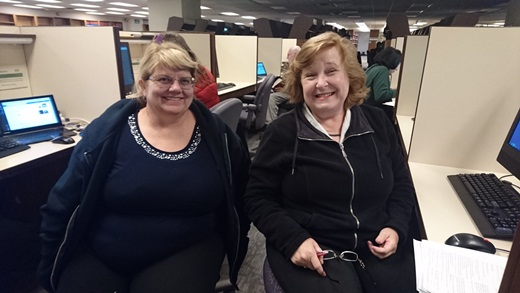 Helen Smith and Kerry Farmer, during a brief break at the Family History Library