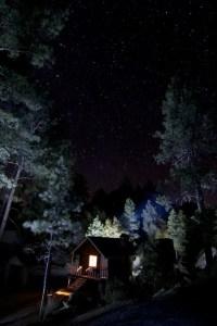 Foto notturna di una capanna nel bosco sotto le stelle nel Parque Constitution in Messico