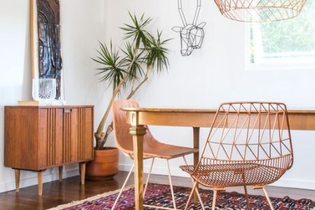 midcentury style furniture with copper chairs and lighting modern home decor 1